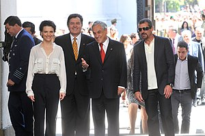 The 33 (film) - Juliette Binoche and Antonio Banderas with the former President of Chile Sebastián Piñera in La Moneda Palace, Santiago, Chile.