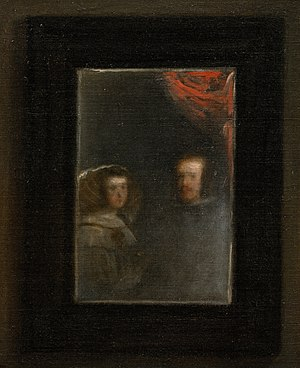 Las Meninas - Detail of the mirror hung on the back wall, showing the reflected images of PhilipIV and his wife, Mariana of Austria