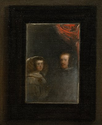 Las Meninas - Detail of the mirror hung on the back wall, showing the reflected images of Philip IV and his wife, Mariana of Austria