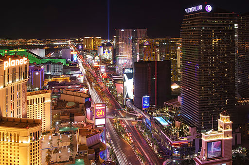 Las Vegas Strip lights at night