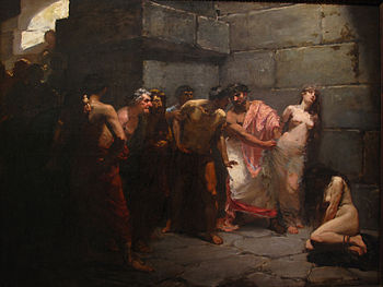 Las Virgenes Cristianas Expuestas Al Populacho (The Christian Virgins Being Exposed to the Populace) by Felix Ressureccion Hidalgo 1884.jpg