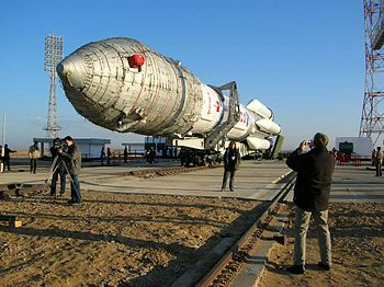 ArabSat 4B Launch campaign. The Proton-M, with...