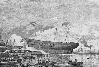 The Japanese battleship Kaiyo Maru was launched at Dordrecht in 1865. She was the largest wooden warship ever launched from a Dutch yard. Launch of Kayo Maru in Dordrech 1865.jpg