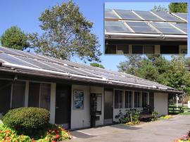 Ein Waschsalon in Kalifornien, USA, der mit Solarenergie betrieben wird.