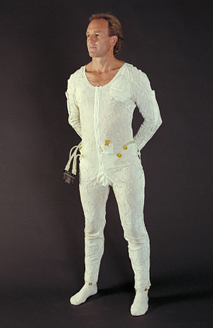 Liquid Cooling and Ventilation Garment - A man wearing a Liquid Cooling and Ventilation Garment for the Space Shuttle/International Space Station Extravehicular Mobility Unit (EMU)