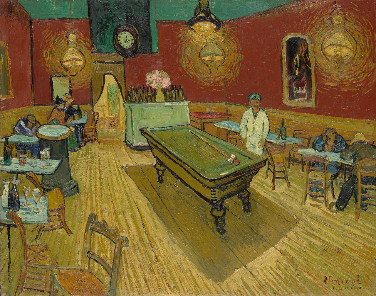 A billiard table in the centre of a room of a café surrounded by tables. Patrons are seated at several tables, and a man dressed in white stands behind the billiard table.