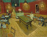 A billiard table in the centre of a room of a cafe surrounded by tables. Patrons are seated at several tables, and a man dressed in white stands behind the billiard table.