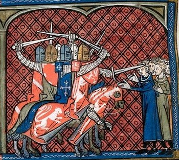 Massacre of the crusaders under Montfort on the Albigensians.  Miniature from the Chronique de Saint-Denis, 14th century