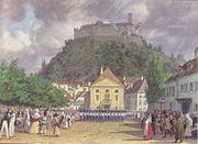 Leander Russ - Parade zur Begrüßung des Kaisers in Laibach - 1845