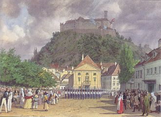 Celebration during the Congress of Laibach, 1821 Leander Russ - Parade zur Begrussung des Kaisers in Laibach - 1845.jpeg