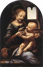 One of his first paintings done in Florence, the Benois Madonna (1478)