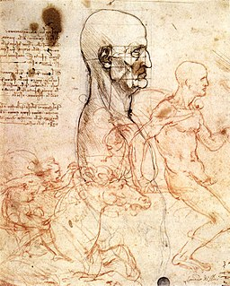 Leonardo da vinci, Profile of a man and study of two riders