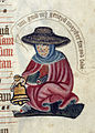 Leper with bell - Pontifical (c.1400), f.127 - BL Lansdowne MS 451.jpg