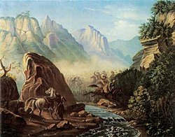 Lermontov took delight in painting mountain landscapes