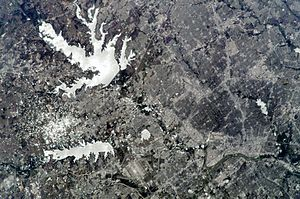 Lewisville Lake - Lewisville Lake, as seen from space in 2009.