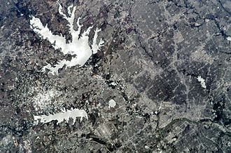 Lewisville Lake - The lake as seen from space in 2009