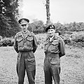 Lieutenant General Miles Dempsey, commanding British 2nd Army, with General Sir Bernard Montgomery in France, 16 July 1944. B7405.jpg