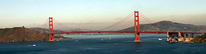 Smog - Characteristic coloration for smog in California in the beige cloud bank behind the Golden Gate Bridge. The brown coloration is due to the NOx in the photochemical smog.