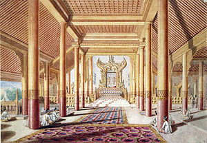 Konbaung dynasty - Lion Throne in the throne hall of the royal palace of Amarapura (Painting by Colesworthy Grant, 1855.