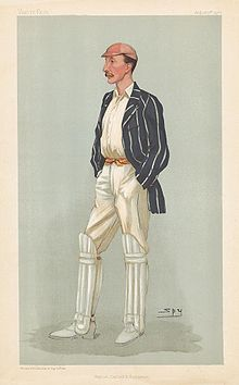 A caricature of Palairet wearing his cricketing whites, with a light red cap and a blue jacket with white stripes.