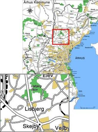 Lisbjerg - Image: Lisbjerg placering relativ til aarhus