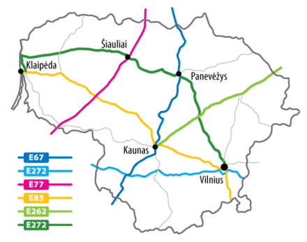 Major highways in Lithuania Lithuania-roads-(E).png
