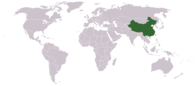 A map showing the location of China