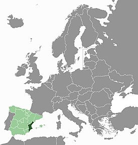 Location of the Valencian Country in Europe
