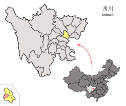 Location of Daying County (pink) within Suining City (yellow) and Sichuan