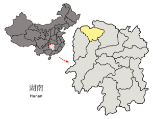 Location of Zhangjiajie within Hunan