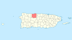 Location of Arecibo within Puerto Rico.