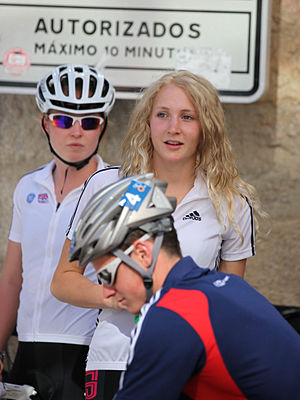 Lois Rosindale - Lois Rosindale together with Alistair Brownlee, watching the Junior Championships in Pontevedra, 2011.