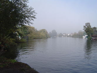 Shepperton - View up the River Thames towards Lower Halliford