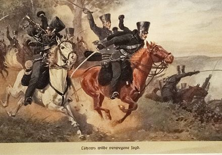 The Lutzow Free Corps during the Napoleonic Wars. During the Napoleonic Wars, the Freikorps referred to volunteer forces that fought against the French. Luetzows verwegene jagd aquarellreproduktion 1900.jpg