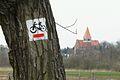 Lusowo, church and bike.JPG
