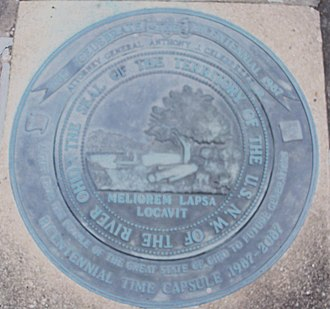 "Northwest Territory - Seal of the Northwest territory over a time capsule outside the Campus Martius Museum. Latin phrase ""He has planted one better than the one fallen,"" signifies the replacement of wilderness by civilization."