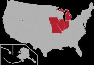 Mid-States Football Association - Image: MSFA USA states