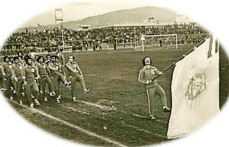 Machine Sazi F.C. - Machine Sazi's players in a parade in Bagh Shomal Stadium, 1969