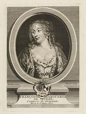 Françoise-Marguerite de Sévigné - Madame de Grignan, engraved portrait