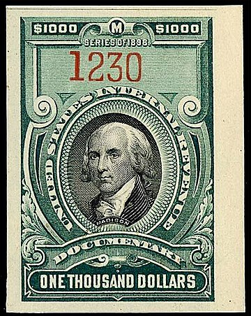 Madison appears on various U.S. Revenue stamps Madison revenue $1000 1899 issue R181.jpg