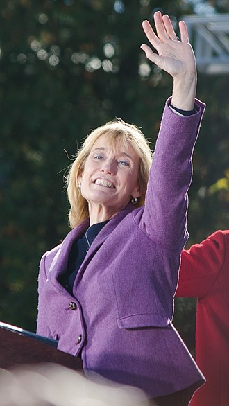 Hassan campaigning at a Hillary Clinton rally in Manchester, New Hampshire in October 2016. Maggie Hassan Manchester NH October 2016.jpg