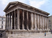 The Maison Carrée at Nîmes (France), from 16 BC, a typical Roman temple, is a Corinthian hexaystyle pseudoperipteros.
