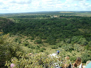 History of South Africa - Looking out over the floodplains of the Luvuvhu River (right) and the Limpopo River (far distance and left)
