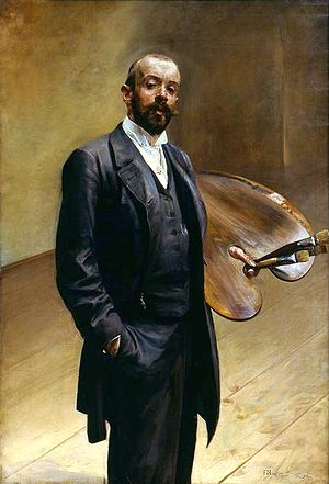 "Society of Polish Artists ""Sztuka"" - Image: Malczewski Self portrait with a palette"