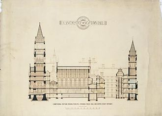 Manchester Town Hall - Cross section drawing by Waterhouse