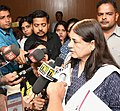 Maneka Sanjay Gandhi briefing the media at the Orientation Workshop on Rashtriya Poshan Maah (National Nutrition Month) being celebrated in the month of September, 2018, in New Delhi.JPG