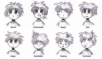 Anime - Anime and manga artists often draw from a defined set of facial expressions to depict particular emotions