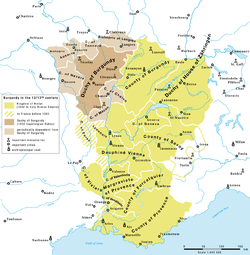Burgundy in the 12–13th century:   Kingdom of Arles   French Duchy of Burgundy   Ducal dependencies