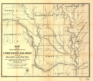 "Silas Seymour - ""Map Showing the Different Routes Surveyed for the Union Pacific Rail Road Between the Missouri River and the Platte Valley"" by Silas Seymour, around 1865."