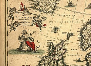Symbols of Europe - Nova et accurata totius Europæ descriptio by Fredericus de Wit, 1700